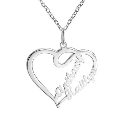 Personalized Necklace,Custom Infinity Necklace, 2 Names Heart Necklaces for Women-Silver