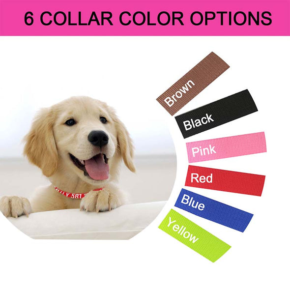 Personalized Dog Collar-Engraving with Pet Name and Phone Number,Tough Nylon Material,2 Adjustable Sizes and 6 Colors Available - amlion
