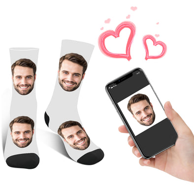 Photo Socks Personalized  Face Socks With Photo White - amlion