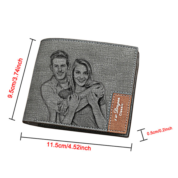 Engraved Photo Leather Wallets Personalized, Custom Wallets for Men,Father,Dad Blue - amlion