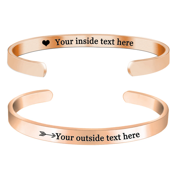 Personalized Bracelets for Women Girls Engraved Bracelets Cuff -Double Side Engraved - amlion