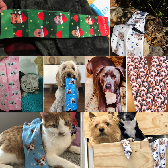 Custom Personalized Funny Face Photo Socks With  Dog, Cat, Other Pets Face Photo into Socks - amlion