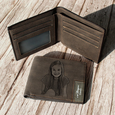 Custom Engraved Wallet, Personalized Photo Leather Men Wallets for Dad Father Day Gifts- Dark Brown - amlion