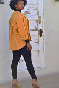 Coco Ruffle Shirt Jacket in Mustard Yellow