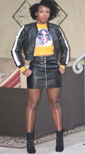 Black Faux Leather Mini Skirt with front zipper.