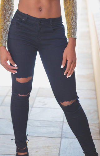 Crafty Cutout Black Denim