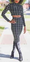 Black + White grid set with long sleeve crop top and pencil skirt.