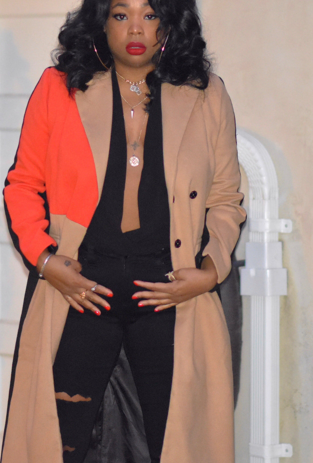 Color Block Longline Trench Coat in camel and coral.