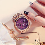 GUOU Rose Gold Watch Luxury Crystal Auto Date