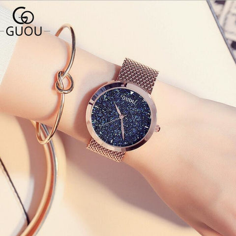 GUOU Luxury Shiny Diamond Watch for Women