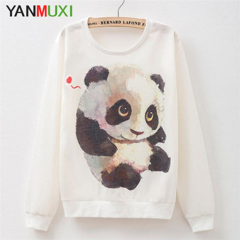 T Shirt Long Sleeve Casual PandaTop