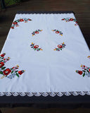 """Kalocsai"" style colour embroidered tablecloth 140cm x 142cm"