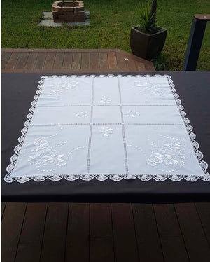 """Kalocsai"" style white embroidered tablecloth 82cm x 82cm"