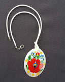 """Matyo"" ceramic oval necklace 4cm x 6cm"