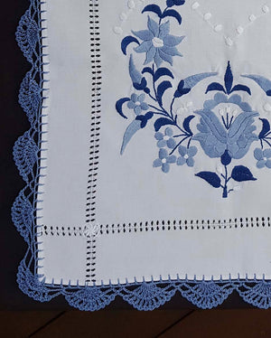 """Kalocsai"" style blue embroidered tablecloth 39cm x 86cm"
