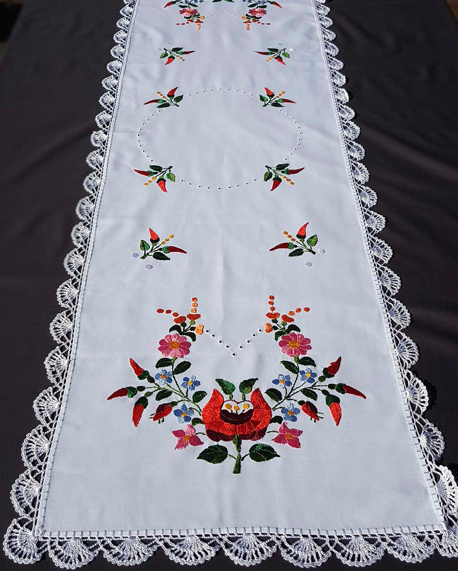 """Kalocsai"" style colour embroidered tablecloth 42cm x 145cm"