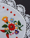 """Kalocsai"" style embroidered oval tablecloth 25cm x 44cm"