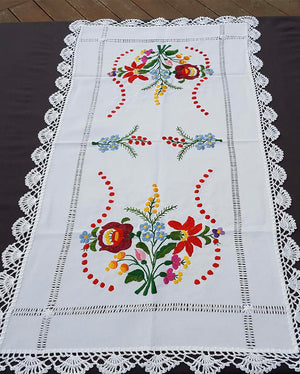 """Kalocsai"" style colour embroidered tablecloth 40cm x 82cm"