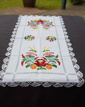 """Kalocsai"" style colour embroidered tablecloth 37cm x 85cm"