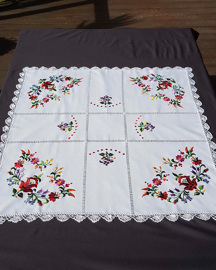 """Kalocsai"" style colour embroidered tablecloth 82cm x 84cm"