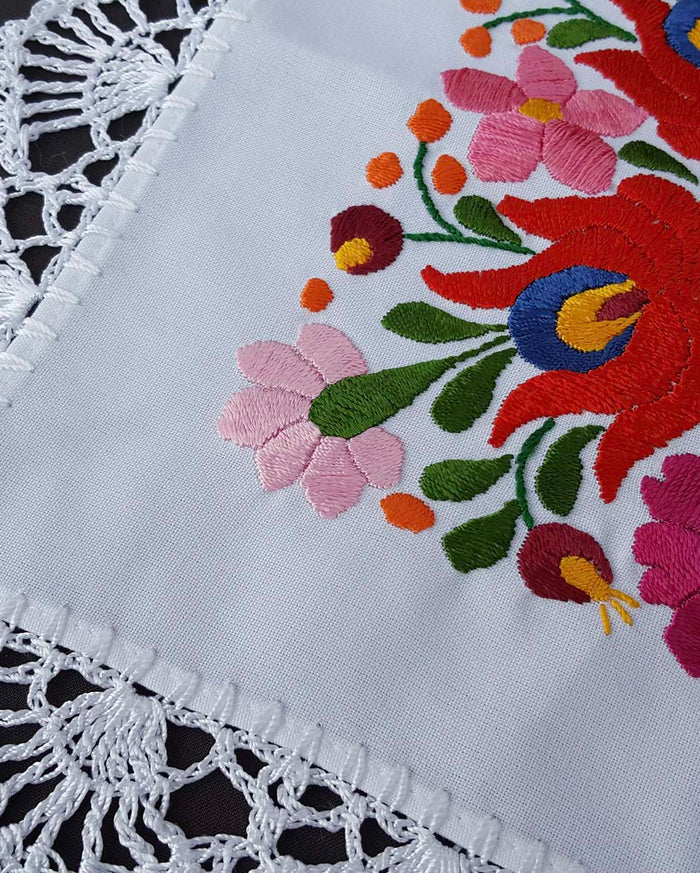 """Matyo"" style colour embroidered tablecloth 26cm x 26cm"