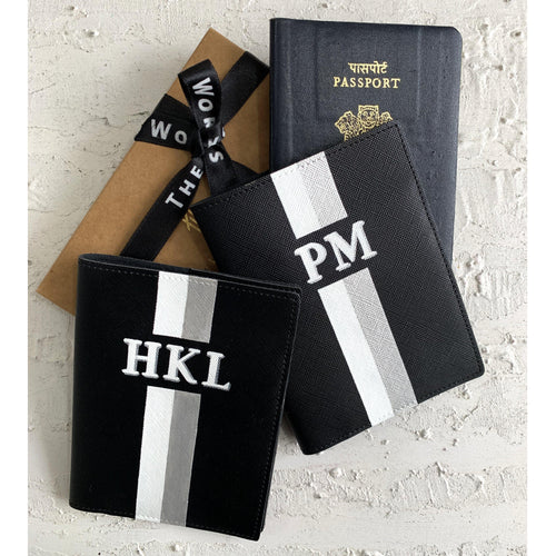 Personalized Passport Cover - Charcoal Black - The Leather Works