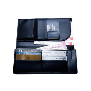 Personalised Executive Travel Wallet - Black Noir - The Leather Works