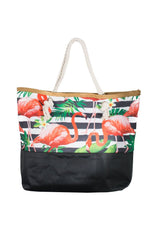 Red Flamingo with Black/White Horizontal Print Canvas Totebags (Large)
