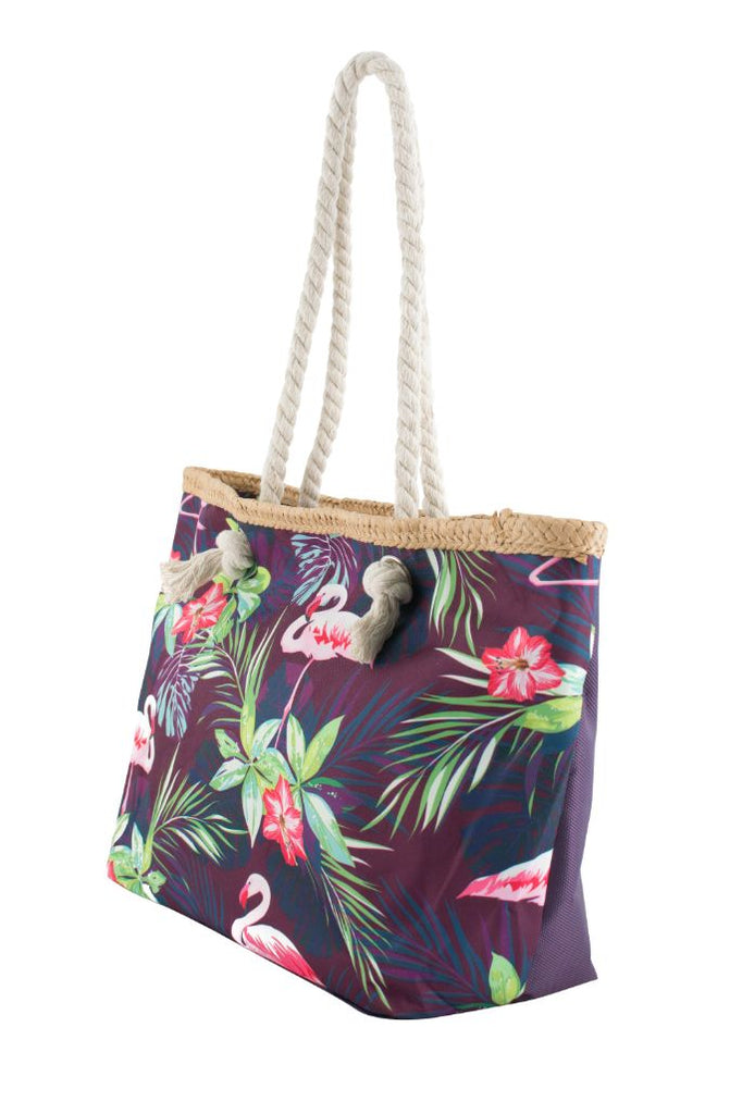 Purple Safari Flamingo Print Canvas Totebags (Small)