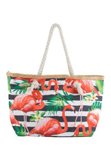 Red Flamingo with Black/White Horizontal Print Canvas Totebags (small)