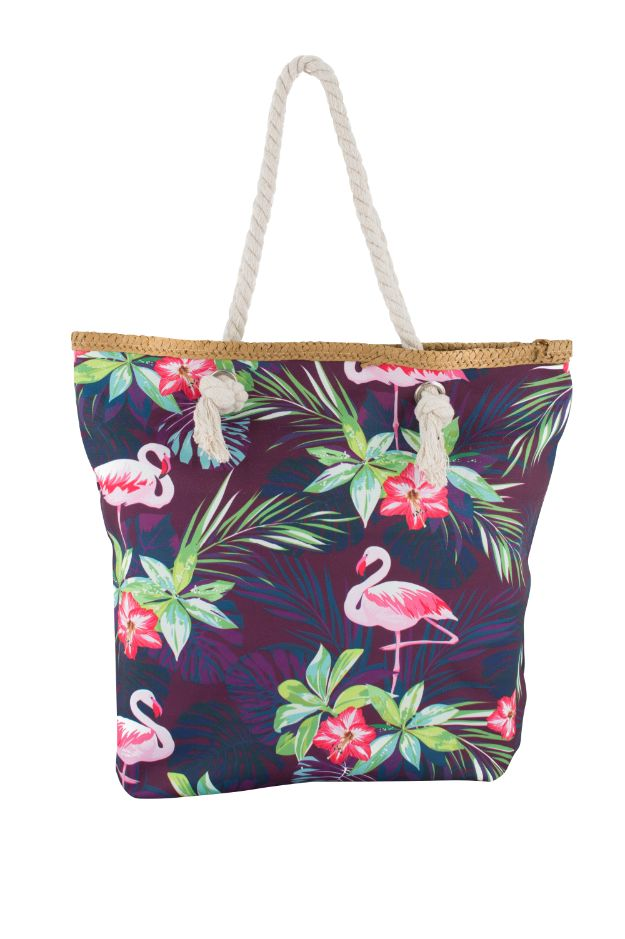 Purple Safari Flamingo Print Canvas Totebags (Medium)