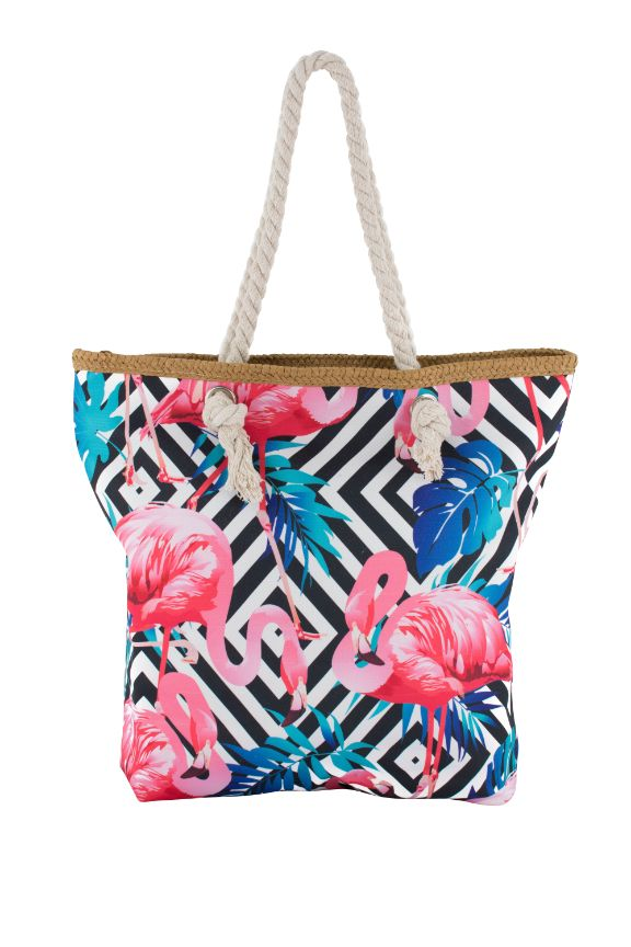Pink Flamingo with Black/White Diamond Print Canvas Totebags (Medium)