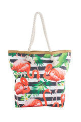 Red Flamingo with Black/White Horizontal Print Canvas Totebags (Medium)
