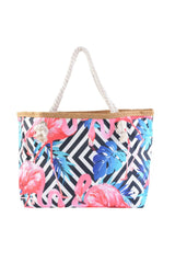 Pink Flamingo with Black/White Diamond Print Canvas Totebags (SMALL)