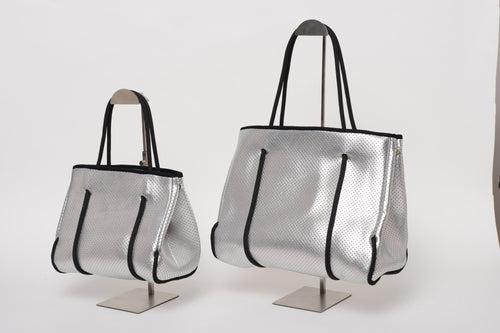 FREQUENCY SILVER NEOPRENE TOTEBAG