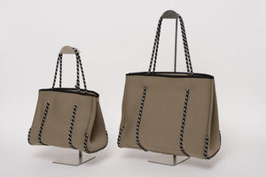FREQUENCY TAUPE NEOPRENE TOTEBAG