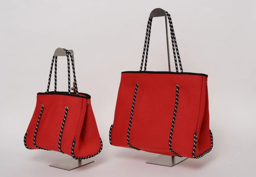 FREQUENCY CHERRY RED NEOPRENE TOTEBAG