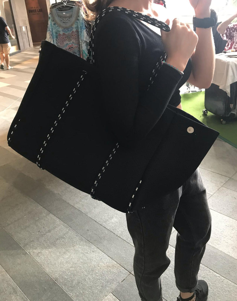Classic Signature Black Neoprene Tote Bag