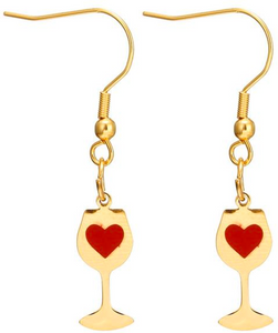 Love Wine Earrings (Red & White Wine; Gold & Silver)[Variant_title] - FlaskMasters