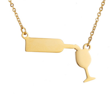 Wine Pouring Necklace (Gold Or Silver)[Variant_title] - FlaskMasters