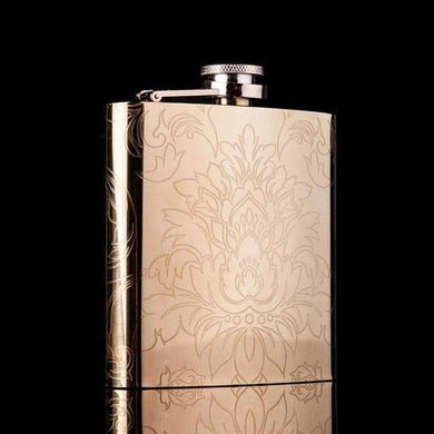 Gold Flask with Engraved Flowers (6 Oz.)[Variant_title] - FlaskMasters