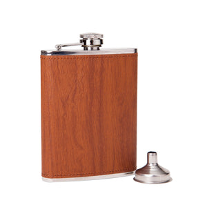 Wood Grain Pattern Leather Wrapped Flask (8 Oz.)[Variant_title] - FlaskMasters