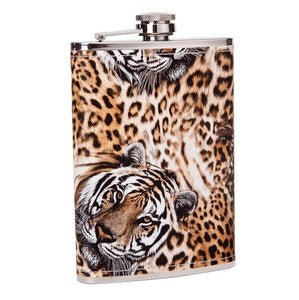 Leather Wrapped Tiger Flask (9 Oz.)[Variant_title] - FlaskMasters