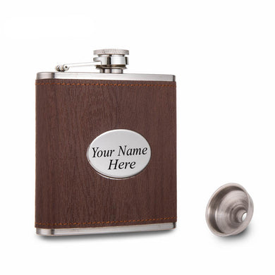 Brown Wood Grain Leather Wrapped Flask with Personalized Name Plate (6 Oz.)[Variant_title] - FlaskMasters