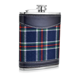 Blue Plaid Flask with Leather Accents (8 Oz.)[Variant_title] - FlaskMasters