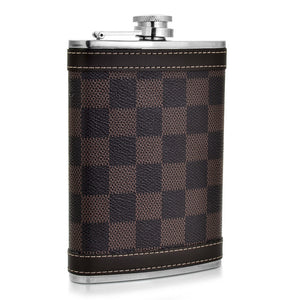 Brown Square Checked Pattern Flask (8 Oz.)[Variant_title] - FlaskMasters