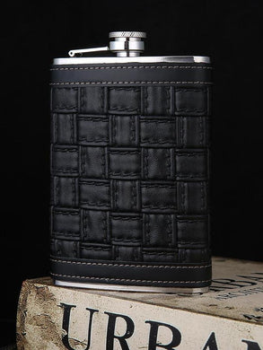 Weaved Pattern Leather Wrapped Flask (9 Oz.)[Variant_title] - FlaskMasters
