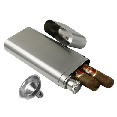 Double Cigar Holder Tube with Flask (2 Oz.) (Holds 2 Cigars)[Variant_title] - FlaskMasters