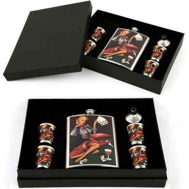 50's Pinup Style Flask Gift Set with 4 Shot Cups and Funnel (Car or Poker Design) (8 Oz.)[Variant_title] - FlaskMasters