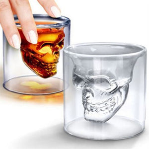 Skull Shaped Double Wall Drinking Glass (1-8 Oz.)[Variant_title] - FlaskMasters
